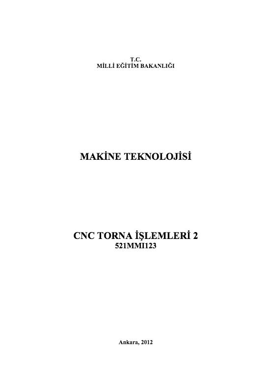 Cnc Torna İşlemleri 2 ders notu pdf