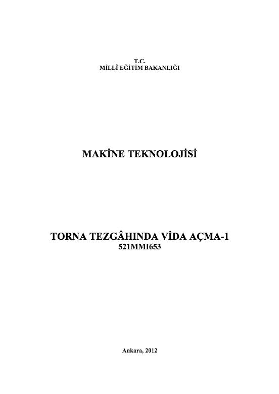 Torna Tezgâhında Vida Açma-1 ders notu pdf