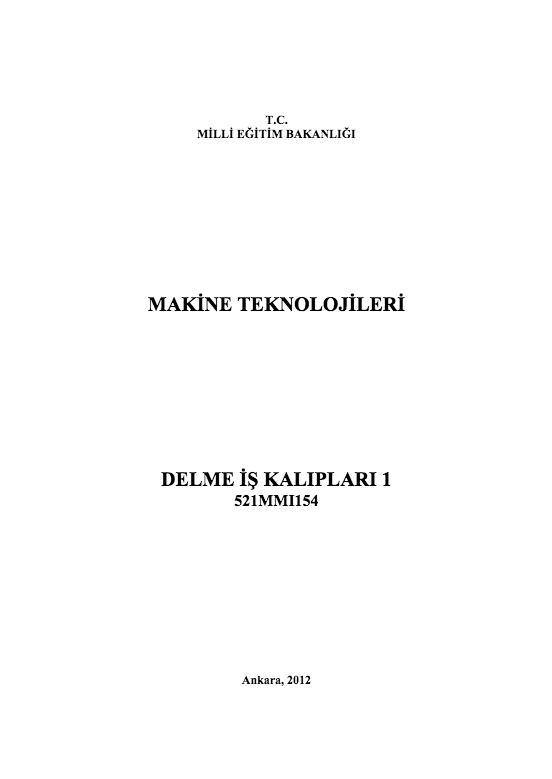 Delme İş Kalıpları 1 ders notu pdf