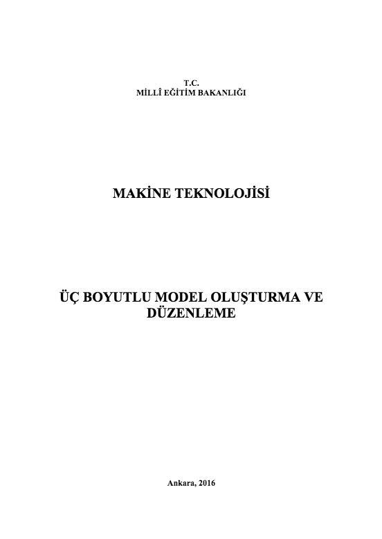 Üç Boyutlu Model Oluşturma Ve Düzenleme ders notu pdf
