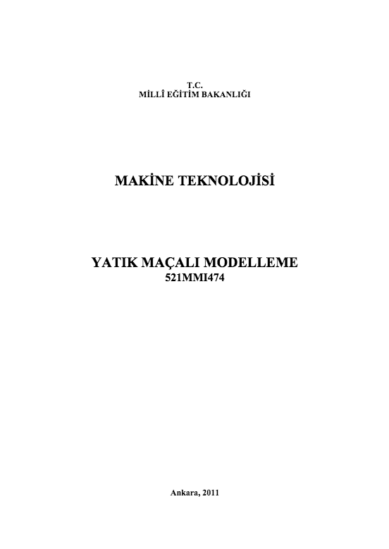 Yatık Maçalı Modelleme ders notu pdf