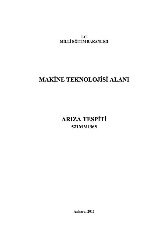 Arıza Tespiti ders notu pdf