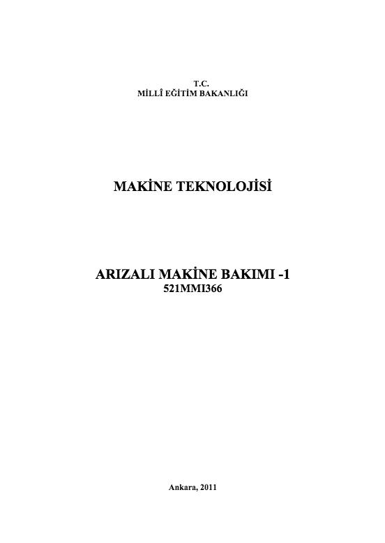 Arızalı Makine Bakımı 1 ders notu pdf