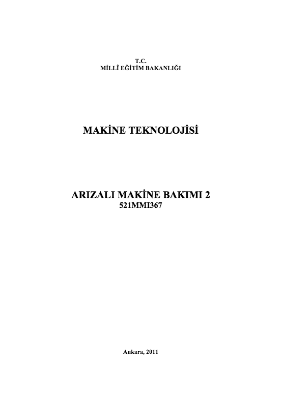 Arızalı Makine Bakımı 2 ders notu pdf