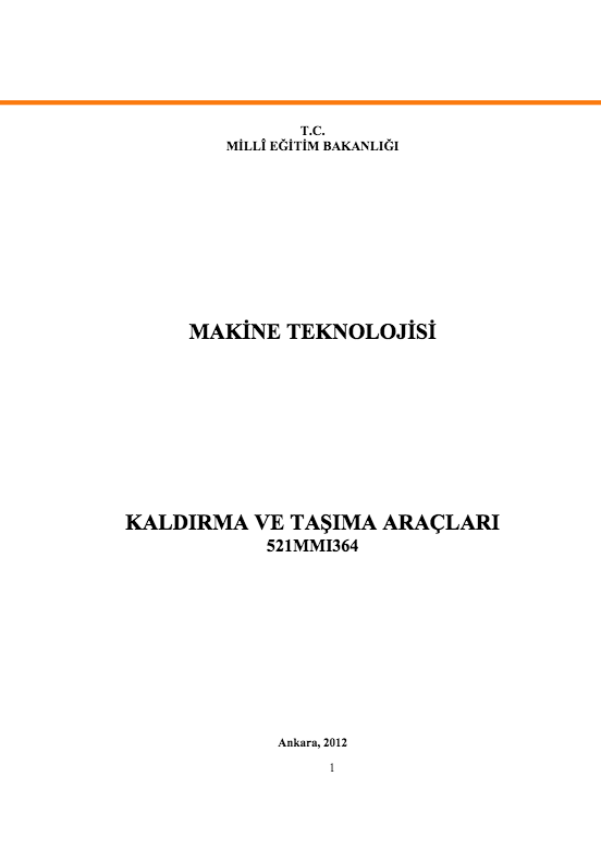 Kaldırma Ve Taşıma Araçları ders notu pdf