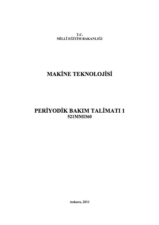 Periyodik Bakım Talimatı 1 ders notu pdf