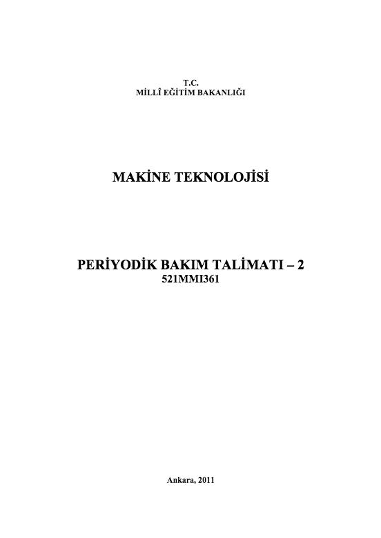 Periyodik Bakım Talimatı 2 ders notu pdf