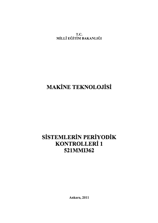 Sistemlerin Periyodik Kontrolleri 1 ders notu pdf