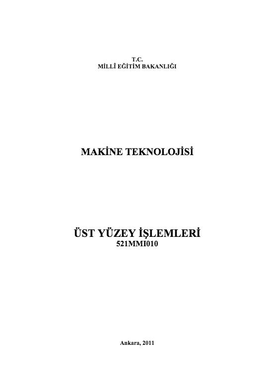 Üst Yüzey İşlemleri ders notu pdf
