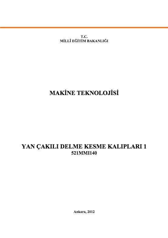 Yan Çakılı Delme Kesme Kalıpları 1 ders notu pdf