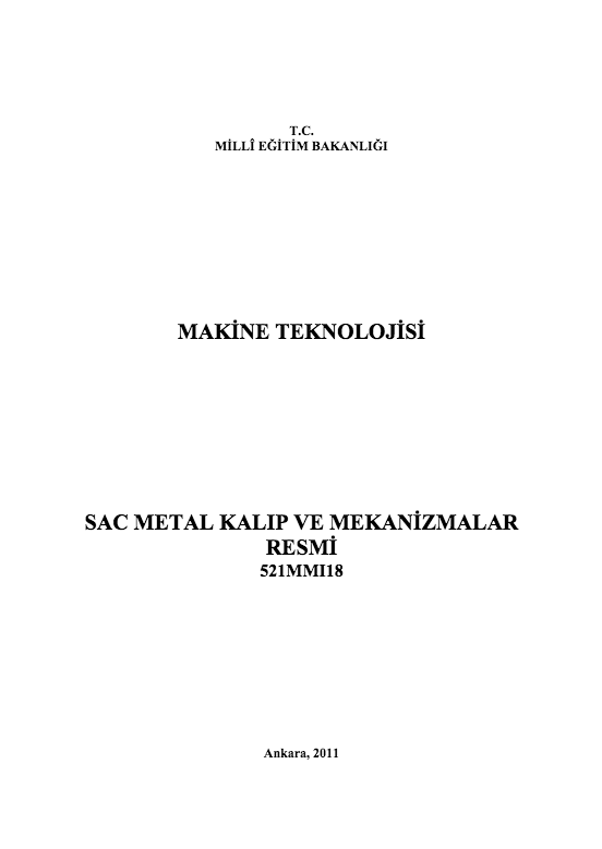 Sac Metal Kalıp Ve Mekanizmalar Resmi