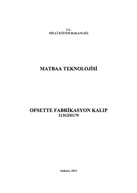 Ofsette Fabrikasyon Kalıp ders notu pdf