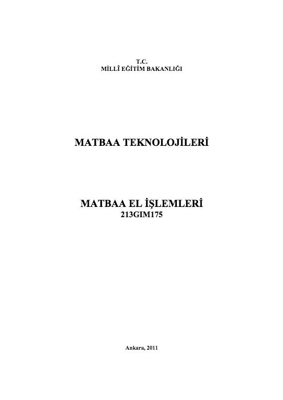 Matbaa El İşlemleri ders notu pdf