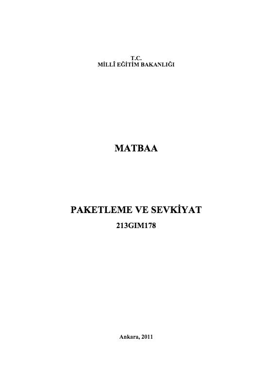 Paketleme Ve Sevkiyat ders notu pdf