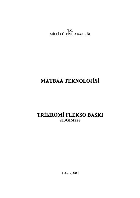Trikromi Flekso Baskı ders notu pdf
