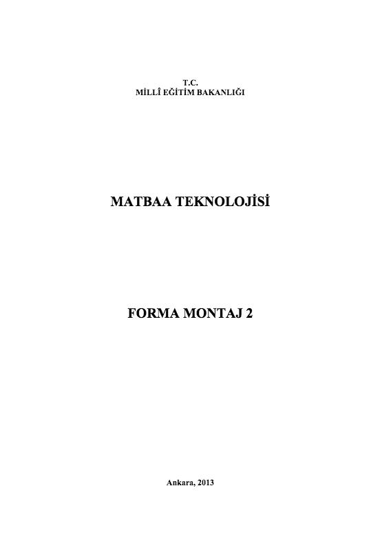 Forma Montaj 2 ders notu pdf