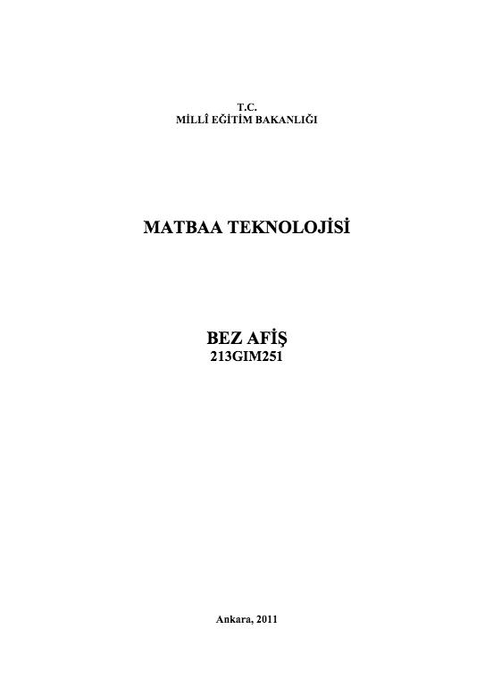 Bez Afiş ders notu pdf