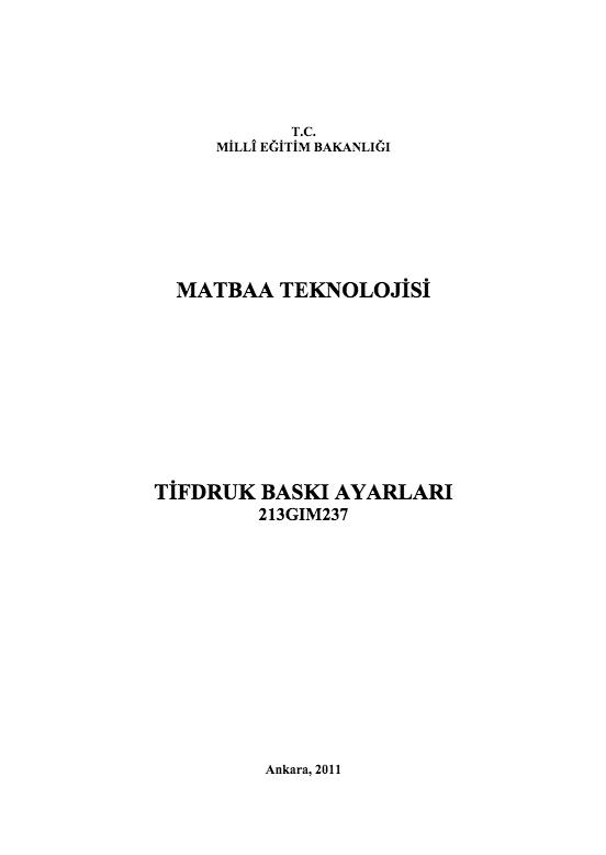 Tifdruk Baskı Ayarları ders notu pdf