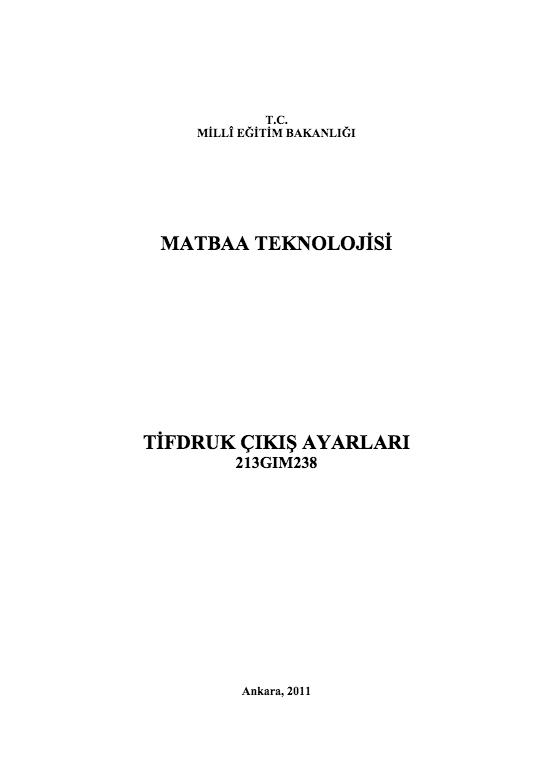 Tifdruk Çıkış Ayarları ders notu pdf