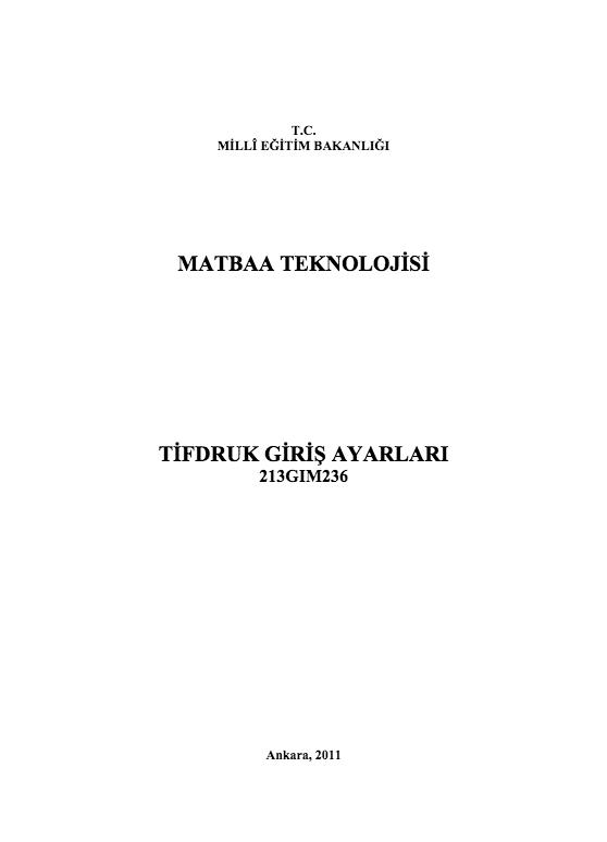 Tifdruk Giriş Ayarları ders notu pdf