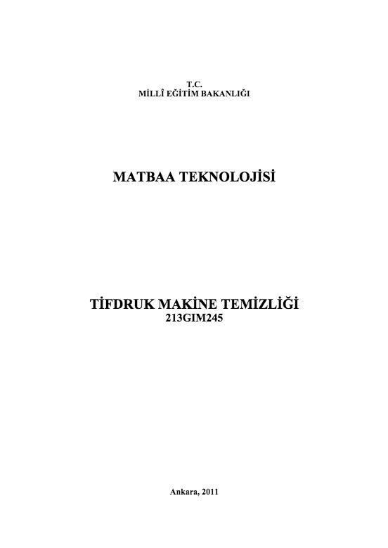 Tifdruk Makine Temizliği ders notu pdf