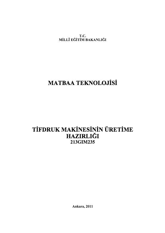 Tifdruk Makinesinin Üretime Hazırlığı ders notu pdf