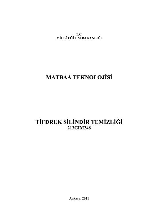 Tifdruk Silindir Temizliği ders notu pdf
