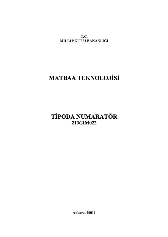Tipoda Numaratör ders notu pdf