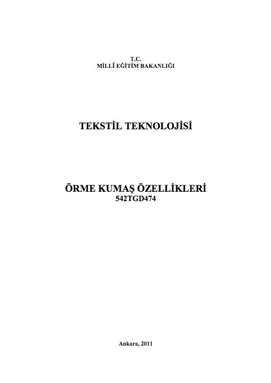 Örme Kumaş Özellikleri ders notu pdf