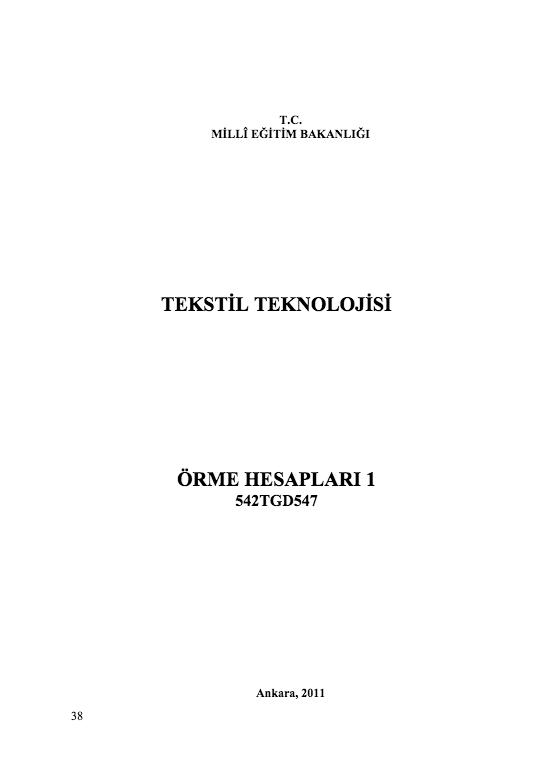 Örme Hesapları 1