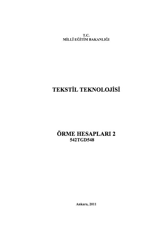 Örme Hesapları 2
