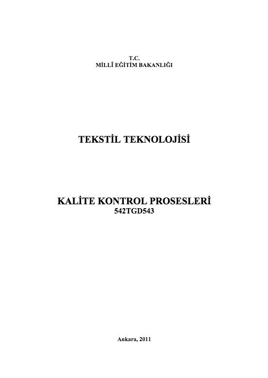 Kalite Kontrol Prosesleri ders notu pdf