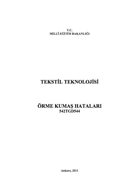 Örme Kumaş Hataları ders notu pdf
