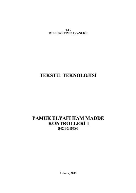 Pamuk Elyafı Ham Madde Kontrolleri 1 ders notu pdf