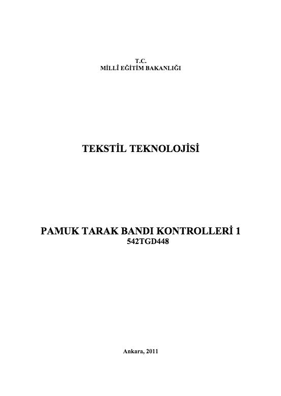 Pamuk Tarak Bandı Kontrolleri 1 ders notu pdf