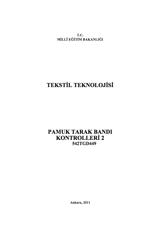 Pamuk Tarak Bandı Kontrolleri 2 ders notu pdf