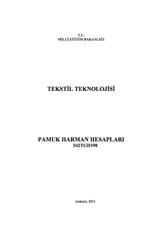 Pamuk Harman Hesapları ders notu pdf