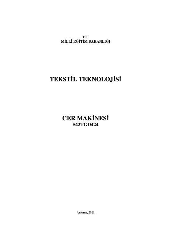 Cer Makinesi ders notu pdf