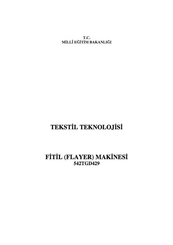 Fitil (flayer) Makinesi ders notu pdf