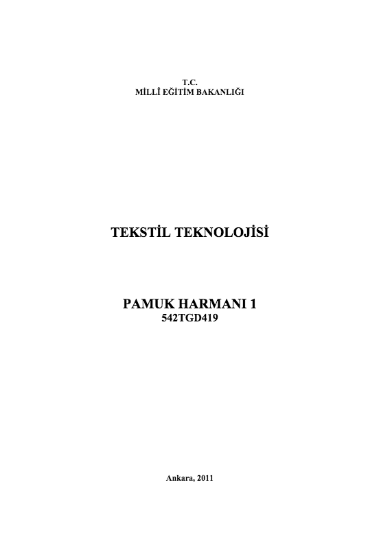 Pamuk Harmanı 1 ders notu pdf
