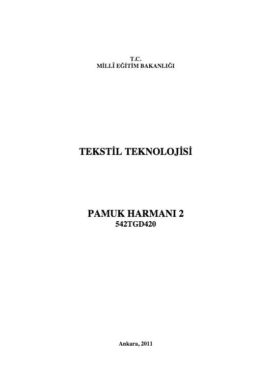 Pamuk Harmanı 2 ders notu pdf