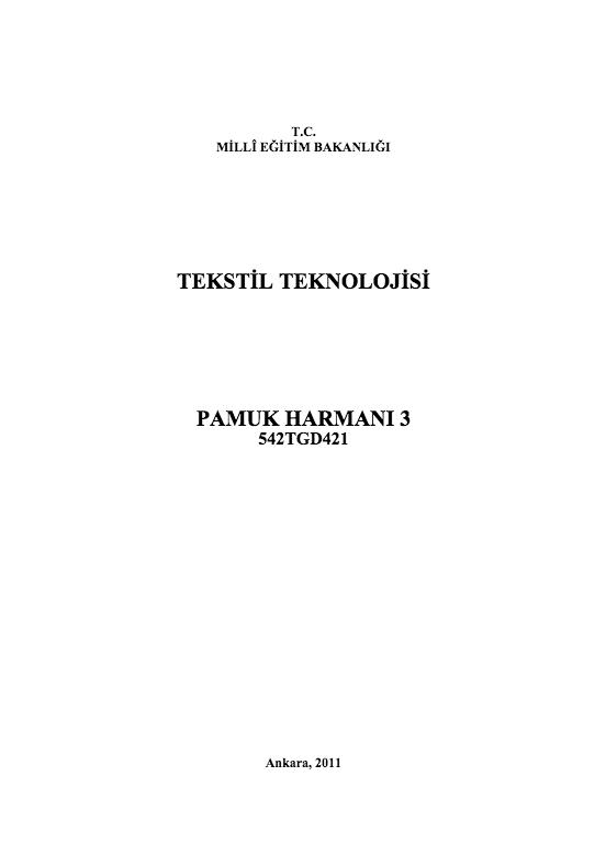 Pamuk Harmanı 3 ders notu pdf