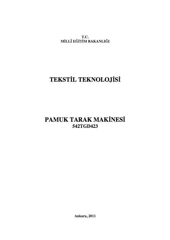 Pamuk Tarak Makinesi ders notu pdf