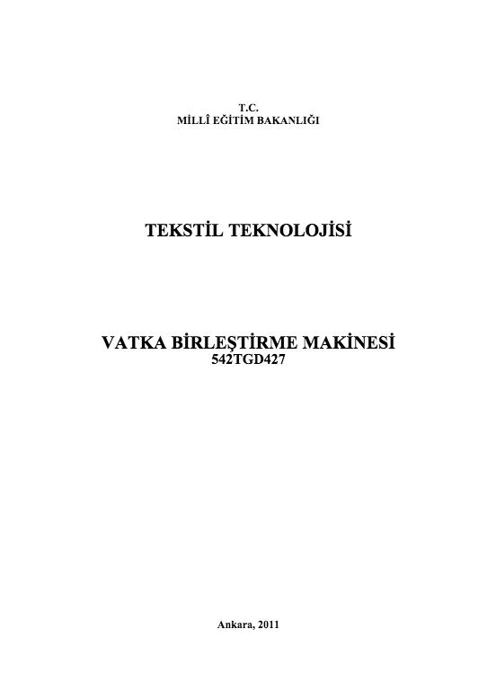 Vatka Birleştirme Makinesi ders notu pdf