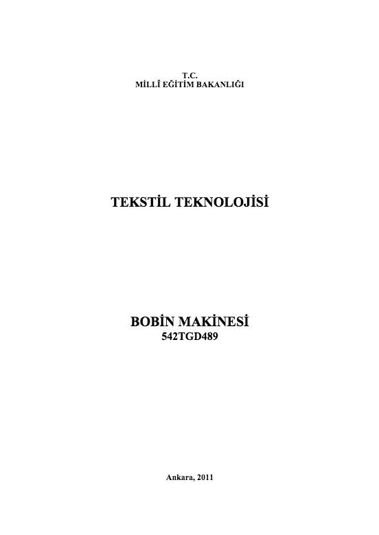 Bobin Makinesi ders notu pdf
