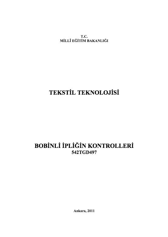 Bobinli İpliğin Kontrolleri ders notu pdf
