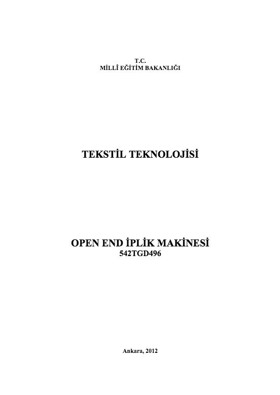 Open -end İplik Makinesi ders notu pdf