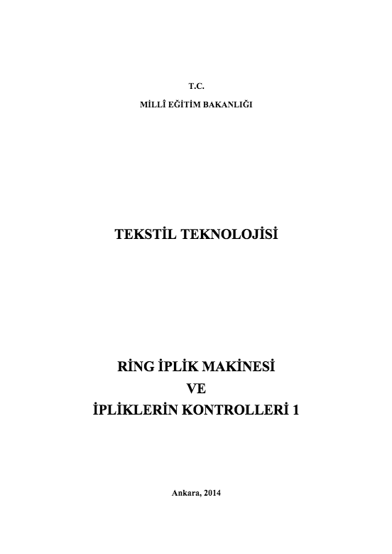 Ring İplik Makinesi Ve İpliklerin Kontrolleri 1 ders notu pdf