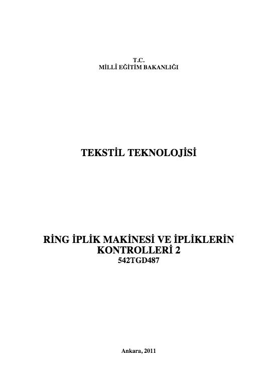 Ring İplik Makinesi Ve İpliklerin Kontrolleri 2 ders notu pdf