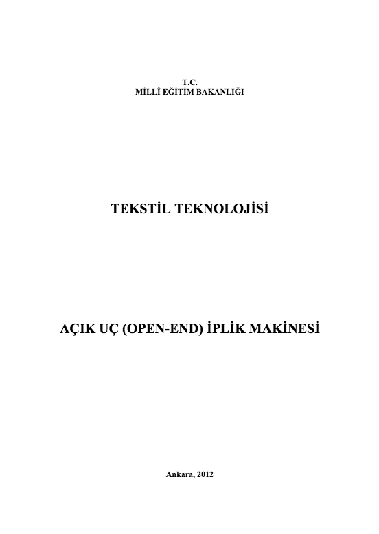 Açık Uç (Open-End) İplik Makinesi ders notu pdf